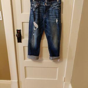 7 For All Mankind Raw Hem Crop Bootcut Jeans sz 27